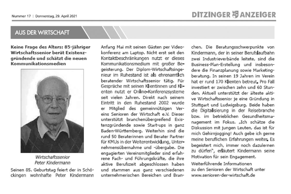 Peter Kindermann im Ditzinger Anzeiger
